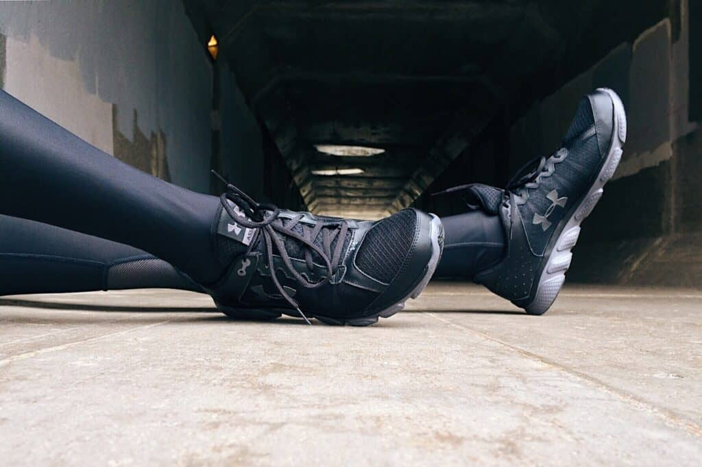 a leather leggings worn with shoes